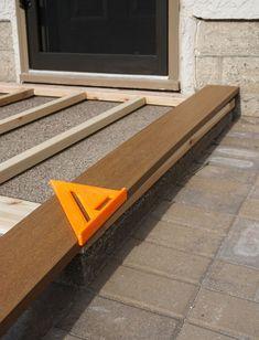 Deck Over Concrete, Concrete Porch, Concrete Slab, Concrete Countertops, Front Porch Makeover, Patio Makeover, Cement Steps, Floating Deck, Diy Deck