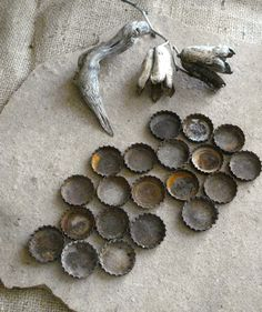 Rusty Metal Beer & Soda Recycled Bottle Caps Found Objects -  Assemblage, Altered Art or Sculpture Supplies. $5.00, via Etsy.