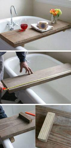 Rustic Bath Caddy From a Single Board of Reclaimed Wood  | DIY Bathroom Storage Ideas on a Budget