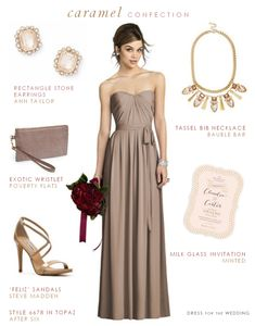 Taupe Bridesmaid Dress -- Dress: After Six // Earrings: Ann Taylor // Necklace: Bauble Bar // Invitation: Minted // Sandals: DSW // Wristlet: Nordstrom Lavender Bridesmaid Dresses, Bridesmaid Dresses Under 100, V Neck Prom Dresses, Strapless Dress Formal, Formal Dresses, Wedding Dresses, Dresses Dresses, Bride Dresses, Bridesmaid Ideas
