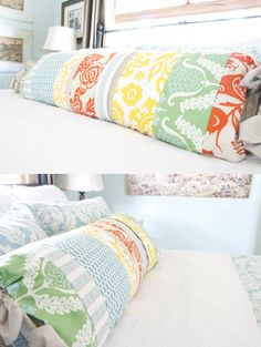 next sewing project?  Way cheaper (and cooler) than buying a pillow that covers the width of the bed.