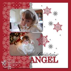 Christmas angel.  Winter scrapbook layout - love the red and white!