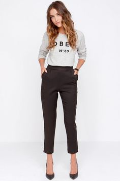 Trouser We Go Black High-Waisted Pants