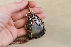 Jasper pendant wire wrap pendant wire wrapped by LenaSinelnikArt