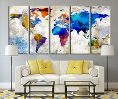 Watercolor world map mounted canvas wall art multiple color world map canvas print large wall art world map on grunge wall art extra gumiabroncs Images