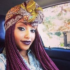 Add a Scarf | 21 Awesome Ways To Style Your Box Braids And Locs I'll most definitely be doing this!