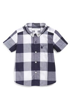 Burberry 'Mini Fred' Check Short Sleeve Shirt (Baby Boys)