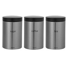 Brabantia Tea Coffee And Sugar Canisters Matt Stainless Steel Online At Johnlewis