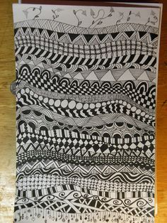 zentangle  Day 1 create a line for each art day & label it with a date.  Each day when they come in they automatically put in a new pattern to get them started.