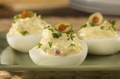 In Spain, olives are known for their versatility and are used to add flavor and a touch of fancy to dishes. Well, we think everyone should be able to add a little fancy to their food, which is why we came up with this great recipe for Spanish Olive D Healthy Deviled Eggs, Best Deviled Eggs, Deviled Eggs Recipe, Appetizers For Party, Appetizer Recipes, Easter Recipes, Pickled Eggs, Egg Recipes For Breakfast, Finger Foods