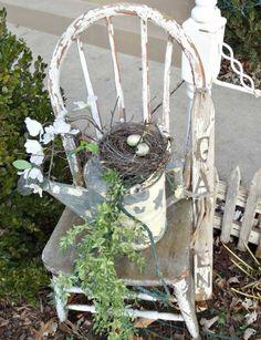 Top 15 Easy Easter Garden Decor Ideas – Backyard Design For Cheap Party Projec. Top 15 Easy Easter Garden Decor Ideas – Backyard Design For Cheap Party Project - Homemade Ideas Garden Junk, Garden Cottage, Style Shabby Chic, Rustic Style, Rustic Gardens, Outdoor Gardens, Yard Art, Junk Chic Cottage, Chair Planter