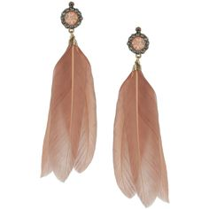 Pink Feather Drop Earrings ($15) ❤ liked on Polyvore