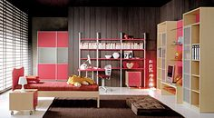 Red Bed Sheet With Brown Bed Frame Design Also Chocolate Area Rug And Cubic Bookcase Furniture In Simple Kids Room