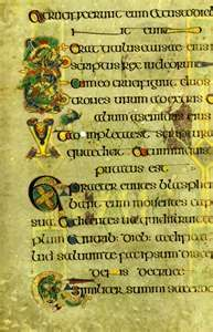 """I mentioned the Book of Kells in an earlier posting. Let me quote some information about it: """"The Book of Kells was probably produced i. Book Of Kells, Book In Latin, The Book, Illuminated Letters, Illuminated Manuscript, William Morris, Irish Tartan, Four Gospels, Principles Of Design"""