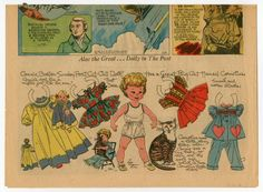 """""""Connie & Her Big Cat Cornelius,"""" a paper doll by Lucy Eleanor Leary, Boston Sunday Post, 1956"""