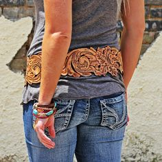 The Maybelle   Wild Bleu Hand tooled, custom leather artwork, Matching Leather Buckle (interchangeable)