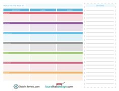 Free printable weekly meal planner w/ grocery list