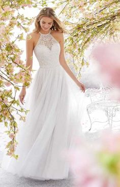 Voyage by Mori Lee 6898 Leilani Halter A-Line with a Keyhole Back Wedding Dress . Voyage by Mori Lee 6898 Leilani Halter A-Line with a Keyhole Back Wedding Dress - Kleider - Dresses Bridal Wedding Dresses, Dream Wedding Dresses, Wedding Dress Styles, Bridal Style, High Neck Wedding Dresses, Wedding Dress Backs, Hair Wedding, Blue Wedding, Spring Wedding