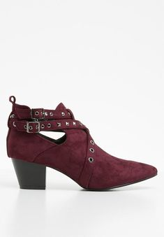Studded bootie - burgundy STYLE REPUBLIC Boots | Superbalist.com Block Heels, Heeled Mules, Two By Two, Burgundy, Girly, Footwear, Booty, How To Wear, Toe