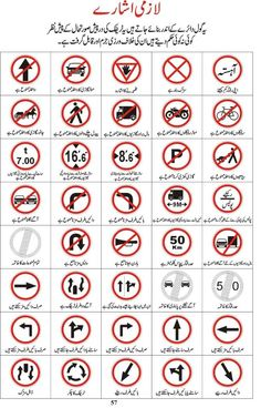 The complete book of Traffic Signs In Pakistan With Meanings In URDU, English is available here. If you are going for driving license then must checkthe tra General Knowledge Book, Gernal Knowledge, Knowledge Quotes, Traffic Sign Boards, All Traffic Signs, Driving Signs, Driving Rules, Road Sign Board, Traffic Symbols