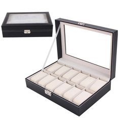 Large Watch Display Storage Case Jewelry Box Leather 12 Slots Black with Removable PillowsNEW 3JU1 #Affiliate