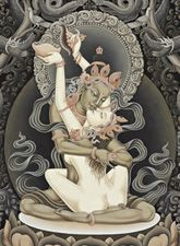 Tibetan and Hindu gods and goddesses knew many forms of heavenly rapture. Traditional Paintings, Traditional Art, Tibetan Tattoo, Tara Goddess, Tantra Art, Tibet Art, Virtual Art, Buddhist Art, Sacred Art
