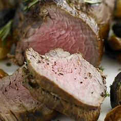 Roast fillet of beef with shallots and mushrooms Roast Fillet Of Beef, Succulent Centerpieces, Roast Dinner, Some Recipe, Served Up, Beef Recipes, Poultry, Steak, Stuffed Mushrooms