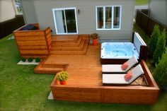 Patio Plus - Patio et spa. I love this simple set up & all the possibilities! Patio Plus - Patio et spa. I love this simple set up & all the possibilities! Hot Tub Deck, Hot Tub Backyard, Hot Tub Garden, Backyard Plan, Backyard Patio Designs, Backyard Projects, Pergola With Roof, Pergola Patio, Pergola Kits