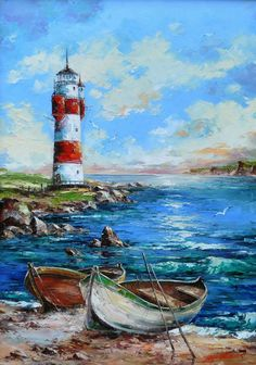 Landscaping watercolor boat Ideas for 2020 Watercolor Landscape, Landscape Art, Landscape Paintings, Watercolor Art, Lighthouse Painting, Boat Painting, Lighthouse Pictures, Boat Art, Seascape Paintings