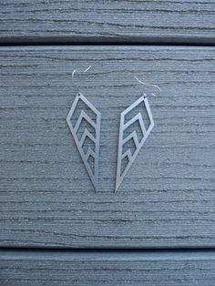Geometric metal earrings edgy jewelry  laser cut by SharpCloud, $25.00