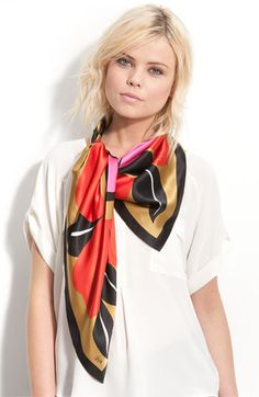 Vera 'Ornamental Flowers' Silk Scarf available at Nordstrom