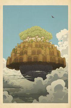 Ghibli Landscape, art illustrated by Bill Mudron. - Ghibli Landscape, art illustrated by Bill Mudron. Hayao Miyazaki, Castle In The Sky, Woodblock Print, Art Studio Ghibli, Japon Illustration, Watercolor Illustration, Ghibli Movies, Girls Anime, Fantasy Art