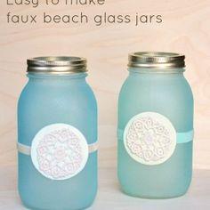 Faux beach glass mason jar lanterns