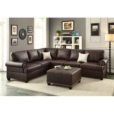 Modern Living Room Espresso Bonded Leather Sectional Sofa L/R Loveseat Couch Set 2 Piece Sectional Sofa, Corner Sectional, Sofa Set, Loveseat Sofa, Corner Couch, Brown Furniture, Living Room Furniture, Fireplace Furniture, Living Rooms