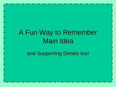 Main Idea and Supporting Details PowerPoint - Free