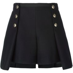 Sacai Luck Pleated Overlay Buttoned Shorts (3.780 NOK) ❤ liked on Polyvore featuring shorts, bottoms, blue, button shorts, blue shorts, pleated shorts, wool shorts and sacai luck