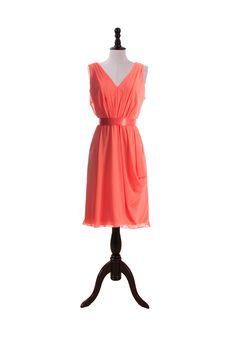 V-Neck Chiffon Dress with Satin Belt