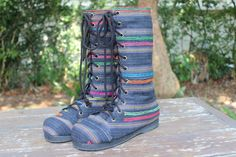 Vegan Womens Combat Boots Charcoal Grey Hemp by SiameseDreamDesign