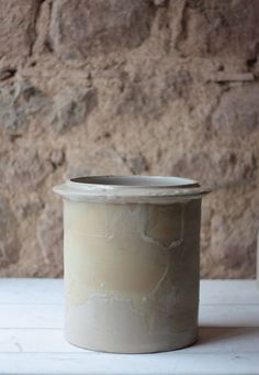 """12"""" Antique French Beige & White Stoneware Confit, or Crock Pot by FarmGateVintage on Etsy"""