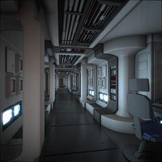 Spaceship corridor, science fiction, future, futuristic interior