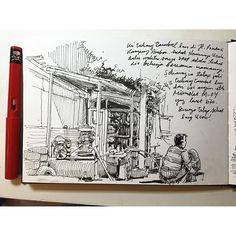 Tukang Tambal Ban #sketch #sketching #sketchbook #sketchwalker #story #urbansketchers #drawing #drawingpen #fountainPen #Jakarta
