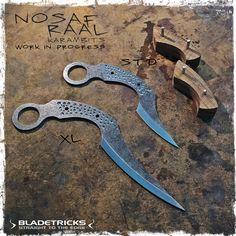 Bladetricks Custom Standard & XL Nosaf Raal Karambits with Spanish Walnut Scales, Work in progress