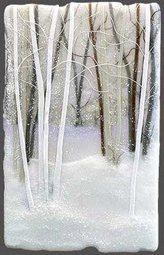 Black and White Winter Landscape fused glass