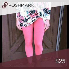 NWT Infinity Raine Leggings 92% Polyester 8%Spandex.  One size but fits size 2-12 comfortably.  The color is Coral. These are a must have for Spring and buttery soft! Infinity Raine Pants Leggings