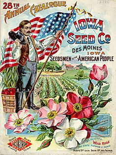 Catalog Information    Company Name:  Iowa Seed Co.    Catalog Title:  28th Annual Catalogue (1898)  Publication Information:  Des Moines, IO  United States  Category(ies) of Cover Art:  Cabbages  Farms  Flags  Men  Roses  Tomatoes