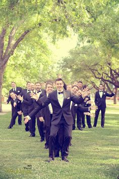 Love this fun shot if the bridal party is large, 360 West Weddings, Fall 2013 #texasweddings #weddingpictures #groomsmen