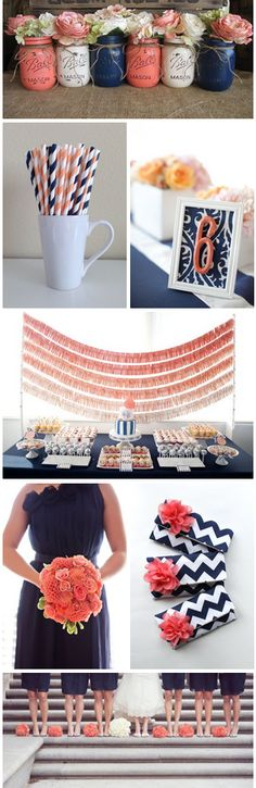 Coral and navy blue wedding ideas