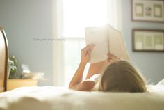 Love to read in bed where it is warm and snuggly.  Kerry Varnum Photography | booworm #lifestyle photography