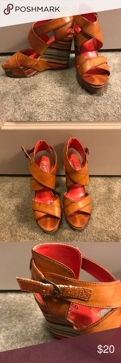 Kenneth Cole Unlisted wedges Colorful sides and warm brown leather. Slight scuffing on one strap. Shown in picture!! Unlisted by Kenneth Cole Shoes Wedges