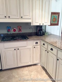 Kitchen Cabinet Refacing On A Budget   Farm Fresh Vintage Finds; Like The  Ledge Between Cabinet U0026 Soffet   Adds Interest To What Often Looks Dated U2026